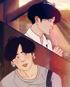 """JK: no thoughts, head empty🍦💦 Yoonmin Fanart, Jungkook Fanart, Bts Jungkook, Vkook Fanart, Kpop Couples, Fanarts Anime, Bts Drawings, Bts Chibi, Bts Wallpaper"
