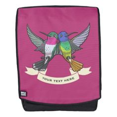 #personalize - #Two Brightly Colored Hovering Hummingbirds Cartoon Backpack