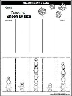 Free Penguin Order By Size Worksheet  cut and paste math activity.  Great for the winter months.