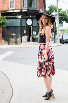 OOTD - Floral Midi Skirt for Summer