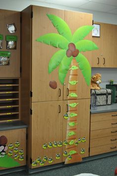Each student is represented by a monkey. The monkey moves up a coconut tree showing progress made toward the monthly kpis. Monkey Bulletin Boards, Reception Activities, Visible Learning, Accelerated Reader, Goal Charts, Goal Board, Jungle Theme, Beginning Of School, Activity Centers
