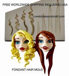 These molds moulds are perfect for Polymer clay Fimo Sculpey Wax Clay and other art Polymer Clay People, Polymer Clay Figures, Polymer Clay Dolls, Fondant Hair, Hair Clay, Baby Mold, Doll Painting, Modeling Chocolate, Doll Tutorial