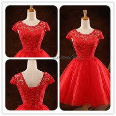 Cap Sleeves Short Prom DressLace up Cocktail by UpromDress on Etsy, $89.00