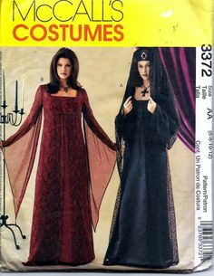McCall's 3372 Medieval Gothic Dress Costume by VintagePatternStore