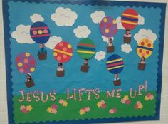 Sunday School Bulletin Board Spring Summer Hot Air Balloon