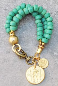 Teal Green Glass and Alexander Gold Coin Beaded Charm Bracelet