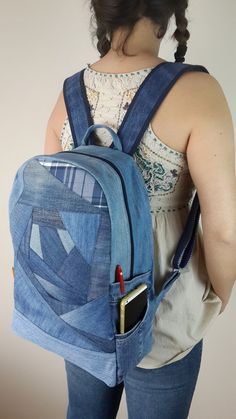 Denim Backpack Jeans Backpack Recycled Denim by duduhandmade