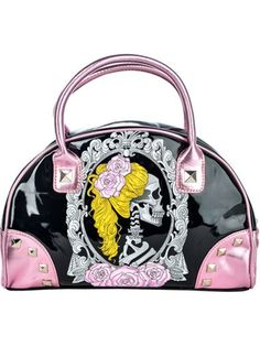 "Women's+""Cameo+Skull""+Bates+Handbag+by+Too+Fast+(Black/Pink)"