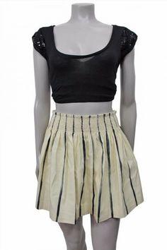 29.69$  Buy here - http://vivcv.justgood.pw/vig/item.php?t=pg5ssov39563 - Kelly Wearstler beige gray striped pleated A-line skirt size 8 29.69$