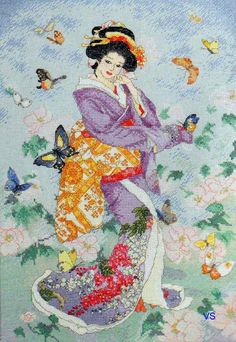 Bucilla Heirloom Counted #crossstitch  BUTTERFLY GEISHA