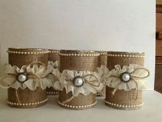 Burlap and lace wrap around tin cans. Recycle Cans, Diy Cans, Burlap Projects, Burlap Crafts, Tin Can Crafts, Crafts To Make, Mason Jar Crafts, Bottle Crafts, Tin Can Art