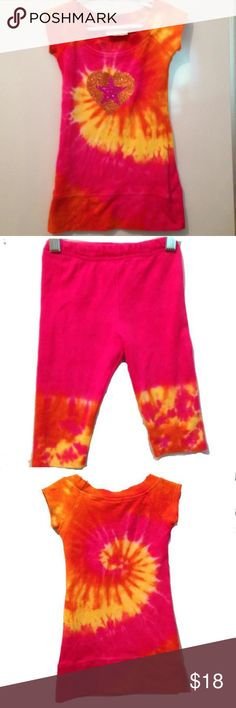 KASH TEN •tie dye tunic/leggings Tunic style top with capri leggings. Pink•orange• yellow tie dye. Sparkly heart & star combo graphic on front. Excellent condition! Matching Sets