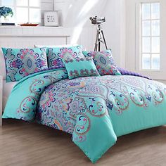 Vcny Home Amherst Boho Medallion Piece Reversible Bedding Comforter Set with Decorative Pillows, Multicolor Comforter Sets, Comforters, Bed Comforters, Boho Comforters, Home, Bed, Reversible Bedding, Bedding Sets, Comforter Sets Boho