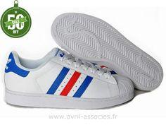 Officiel Hommes Adidas Chaussures Superstar II Bleu Blanc Rouge (Adidas Original Homme Pas Cher)