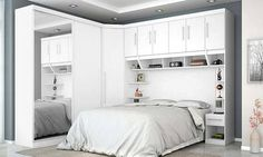 produto Small Bedroom Wardrobe, Small Master Bedroom, King Bedroom, Small Apartments, Small Spaces, Fantasy Rooms, How To Dress A Bed, Build A Closet, Bedroom Furniture Design