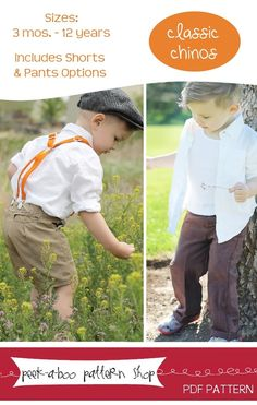 Classic Chinos: 3 mos. - 12 years by Peek-a-Boo Pattern Shop.