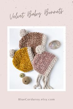 Soft and luxurious, velvet hand crochet baby bonnets in three fabulous colors, tan, pink and yellow. Cute white pom pom on top for winter baby fashion inspiration. Bluecorduroy.etsy.com  #babybonnet #crochetbonnet #babystyle #winterbabyaccessory #babygirlstyle #babyshowergift Baby Sun Hat, Baby Girl Hats, Knitted Hats, Crochet Hats, Baby Winter Hats, Crochet Baby Bonnet, Baby Bonnets, Easy Crochet, Corduroy