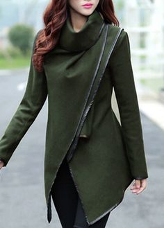 Charming Long Sleeve Army Green Coat for Woman
