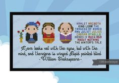 William Shakespeare - Mini Libraries This is the Mini Libraries series. The favourite writers of all the time has been Cloudsfactorized in a mini version! This pattern features William Shakespeare together with Romeo and Juliat, some of the book Cross Stitching, Cross Stitch Embroidery, Cross Stitch Patterns, Totoro, Mini Library, Mini Cross Stitch, Winter's Tale, William Shakespeare, Bookmarks