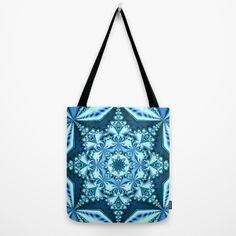 Blue winter snowflake Tote Bag