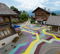 Sabine Lang and Daniel Baumann : The streets of Vercorin , a small town in Switzerland