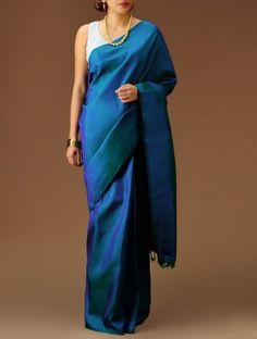 Blue-Green Kanchipuram Silk Saree....... Kanchis can b starkly simple too!