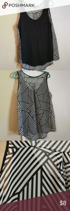 Black and white mixed material geometric tank Perfect for layering! Soft solid black front with faux pocket at chest. Flowy, airy black and white geometric back. There is a pull at the back (see picture) but it totally blends into the pattern when worn. a.n.a Tops