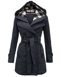 Stylish Hooded Double-Breasted Long Sleeve Worsted Coat For Women Coats | RoseGal.com Mobile