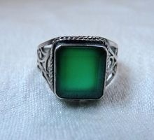 Vintage Chrysoprase Sterling Silver Ring from Time After Time on Ruby Lane