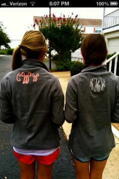 Monogrammed sweatshirt! I've never seen this style (where the monograms on the back) but its super cute!!!