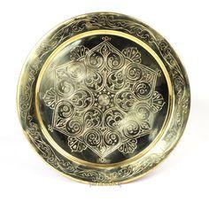 30 cm marocchino Argento intrecciata in ottone vassoio per tè e inciso a mano…