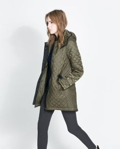 Image 4 of QUILTED COAT WITH HOOD from Zara