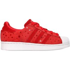 ADIDAS ORIGINALS Superstar Printed Leather Sneakers - Red featuring polyvore, women's fashion, shoes, sneakers, leather sneakers, perforated sneakers, leather footwear, real leather shoes and adidas originals shoes