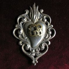 Silver Italian ex voto sacred heart