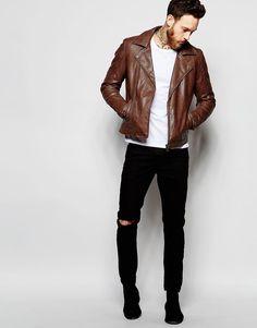 ASOS | ASOS Faux Leather Biker Jacket In Brown at ASOS