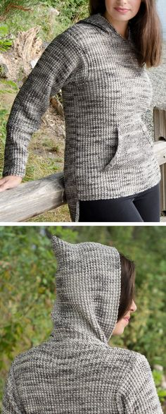 Free Knitting Pattern for 2 Row Repeat Hooded Pullover - The In the Hoodie long-sleeved sweater features front kangaroo pockets and a 2 row repeat texture. Designed by Melissa Leapman for Cascade Yarns. Free Knitting Patterns For Women, Sweater Knitting Patterns, Loom Knitting, Knitting Stitches, Knit Patterns, Baby Knitting, Knit Sweaters, Sewing Patterns, Knitted Blankets