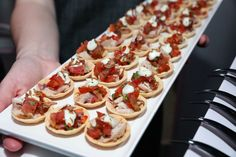 Canape -Crispy Cup filled with tomato & basil salad topped with seared tuna, shredded seaweed & wasabi aioli⠀ Tomato Basil Salad, Seared Tuna, Salad Topping, Aioli, Seaweed, Catering, Tacos, Cake, Ethnic Recipes