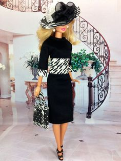 Barbie Doll Dress Hat Purse and Shoes  Black by EnchantedStyles, $35.00