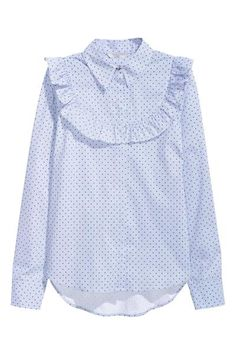 Blouse woven in a patterned cotton blend with a collar, concealed buttons down the front and a frill trim around the yoke at the front and partly at the bac Blouse Volantée, Shirt Blouses, Frill Blouse, Modest Fashion, Hijab Fashion, Fashion Dresses, Blouse En Coton, Vintage Outfits, Hijab Stile