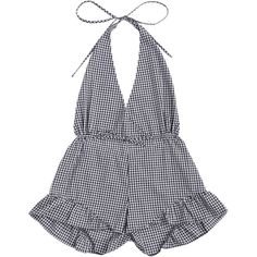 Halter Open Back Ruffle Checked Romper ($15) ❤ liked on Polyvore featuring jumpsuits, rompers, dresses, jumpsuit, romper, ruffle halter top, halter romper, open-back rompers, halter neck jumpsuit and halter tops