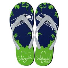 Seattle Seahawks NFL Womens Paint Splatter Flip Flops