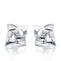 Unique Stud Diamond Earrings on 10K White Gold