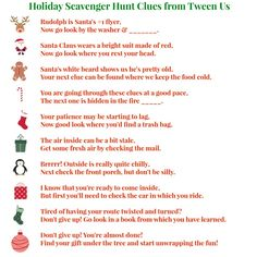 Holiday scavenger hunt clues for tweens