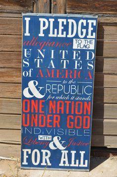 pledge of allegiance sign   Large Distressed Wood Word Sign The Pledge of Allegiance by ...