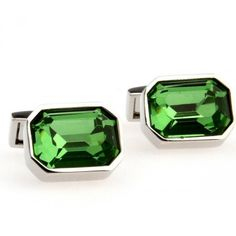 Romance Green Crystal mens  Cufflinks