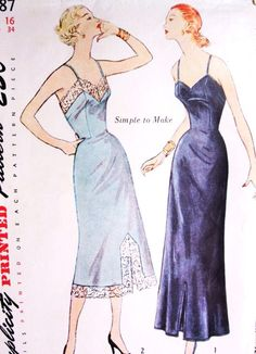1950s Slips Lingerie Pattern Simplicity 3387 Daytime and Evening Length Slips Simple To make Bust 34 Vintage Sewing Pattern FACTORY FOLDED