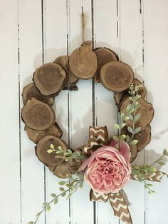 Wood Slice Wreath, Pink Wedding Wreath, White Birch Wreath, Front Door Wreath, Rustic Wreath