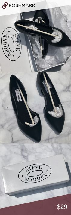 🌟 SALE 🌟 Steve Madden 🌟 Black Leather Flats ⭐️ Steve Madden Black Leather Flats. Brand New. Never worn. Size 7. Beautiful for work or dressy occasions! Steve Madden Shoes