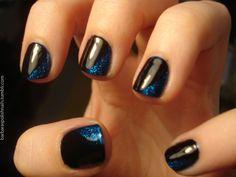 black nails, blue glitter