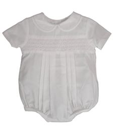 Newborn Infant Boys White Smocked Bubble Outfit - Petit Ami